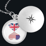 """Kissing USA and UK Hearts Flags Art Locket Necklace<br><div class=""""desc"""">Patriotic digital art design for USA and UK lovers</div>"""