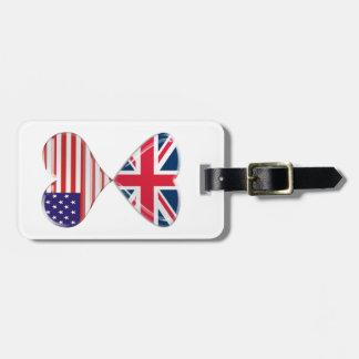 Kissing USA and UK Hearts Flags Art Luggage Tag