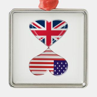 Kissing USA and UK Hearts Flags Art Metal Ornament