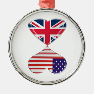Kissing USA and UK Hearts Flags Art Metal Ornament