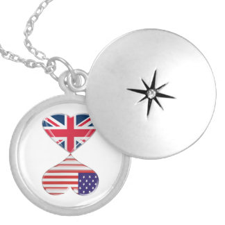 Kissing USA and UK Hearts Flags Art Jewelry