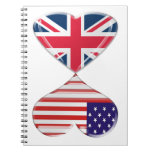 Kissing USA and UK Hearts Flags Art Spiral Notebook