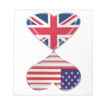 Kissing USA and UK Hearts Flags Art Notepads