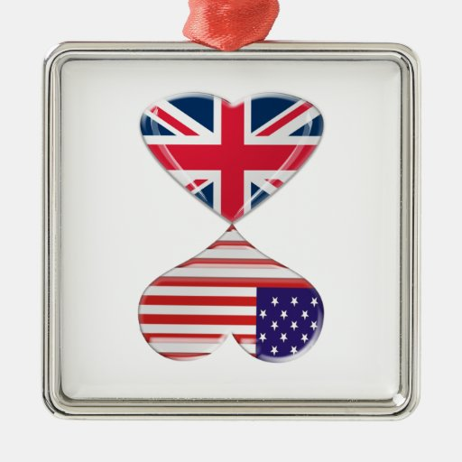 Kissing USA and UK Hearts Flags Art Christmas Tree Ornaments