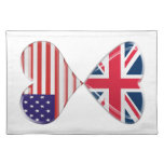 Kissing USA and UK Hearts Flags Art Place Mat