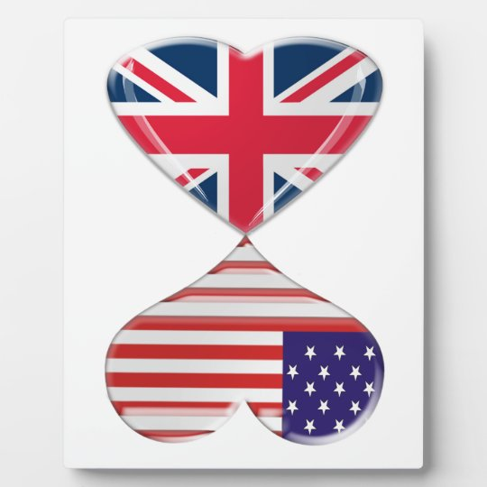 Kissing USA and UK Hearts Flags Art Plaque