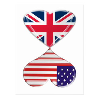 Kissing USA and UK Hearts Flags Art Postcard