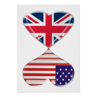 Kissing USA and UK Hearts Flags Art Poster