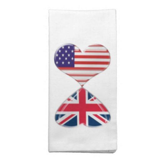Kissing USA and UK Hearts Flags Art Printed Napkin