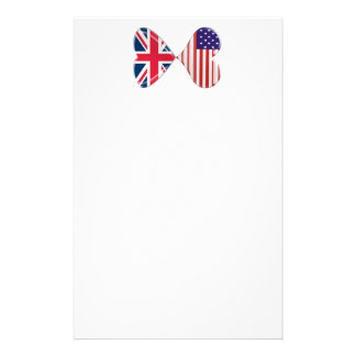 Kissing USA and UK Hearts Flags Art Stationery