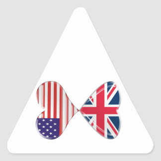 Kissing USA and UK Hearts Flags Art Stickers