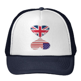 Kissing USA and UK Hearts Flags Art Trucker Hat