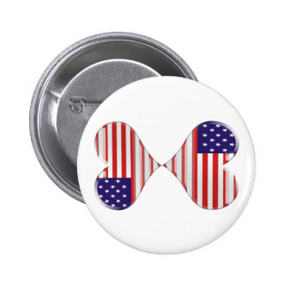 Kissing USA hearts flag art gifts Pinback Buttons