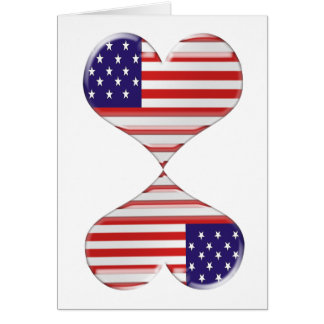 Kissing USA hearts flag art gifts Card