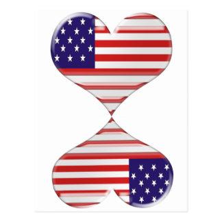 Kissing USA hearts flag art gifts Postcard