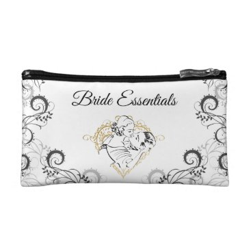 Bride Themed Kissing Vintag Couple Bride Essentials Cosmetic Bag