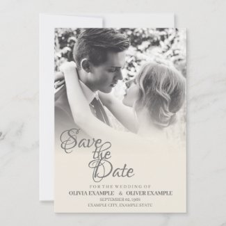 Kissing wedding couple in monochrome announcement