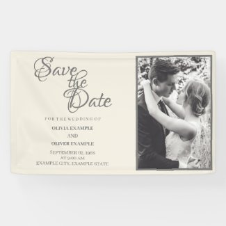 Kissing wedding couple in monochrome banner
