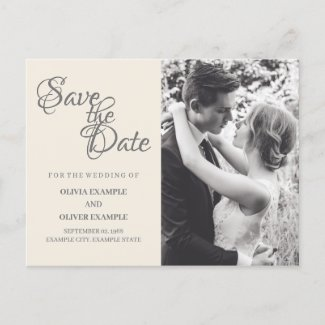 Kissing wedding couple in monochrome holiday postcard