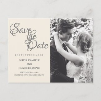 Kissing wedding couple in monochrome invitation postcard