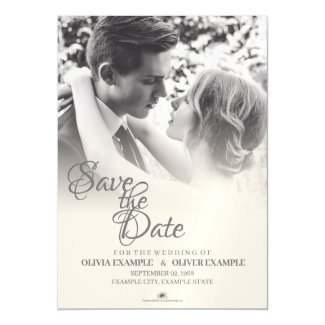 Kissing wedding couple in monochrome magnetic invitation