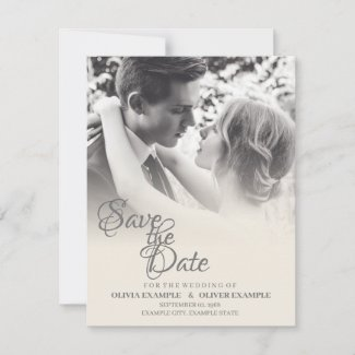 Kissing wedding couple in monochrome note card
