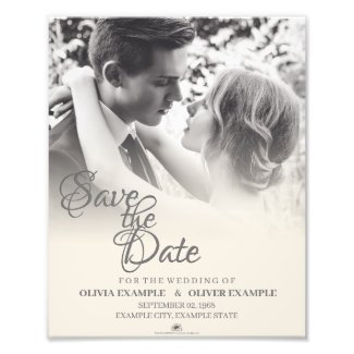 Kissing wedding couple in monochrome photo print