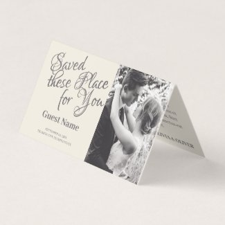 Kissing wedding couple in monochrome place card