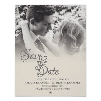 Kissing wedding couple in monochrome poster