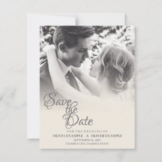 Kissing wedding couple in monochrome RSVP card