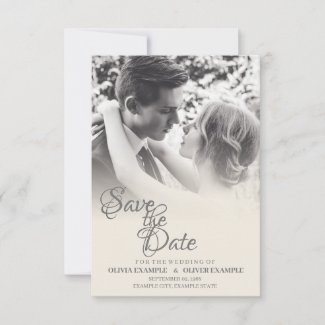 Kissing wedding couple in monochrome save the date