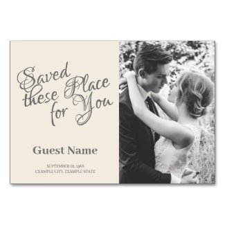 Kissing wedding couple in monochrome table number