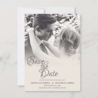 Kissing wedding couple in monochrome thank you card