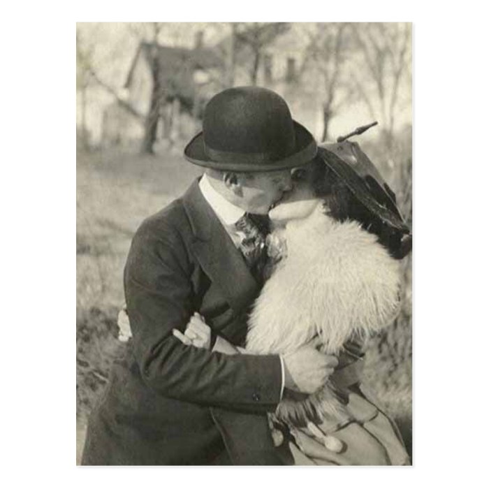 kissing with fur postcard