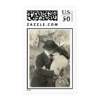 Kissing with love postage