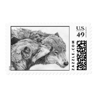 Kissing Wolves Stamps