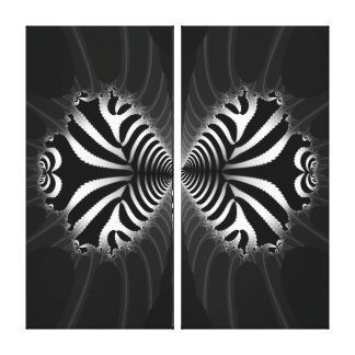 Kissing Zebra Fish Abstract on Wrapped Canvas Canvas Print
