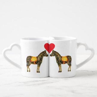 Kissing Zebras Heart Mugs Couples' Coffee Mug Set