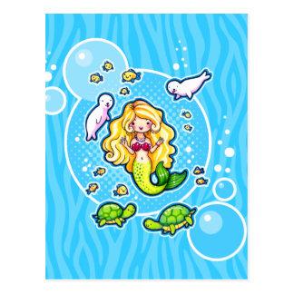 Kissy Bubble Cute Mermaid Custom Postcard