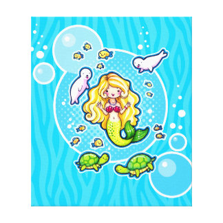 Kissy Bubble Cute Mermaid Wrapped Canvas Art Stretched Canvas Print