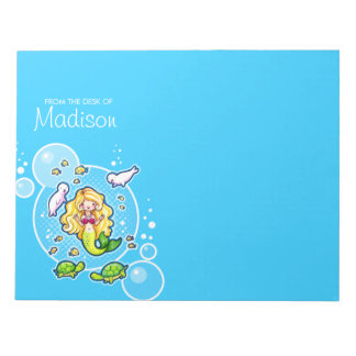 Kissy Bubble Mermaid Personalized Notepad