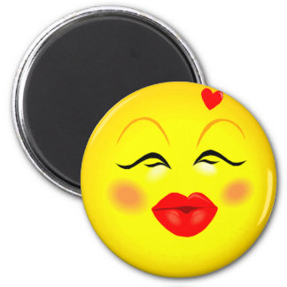 Kissy Face Smiley Girl 2 Inch Round Magnet