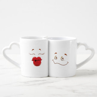 Kissy Face Woman Cartoon Coffee Mug Set