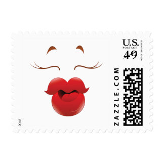 Kissy Face Woman Cartoon Stamp