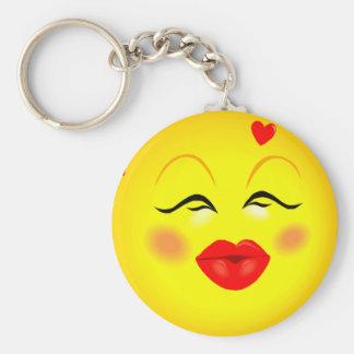 Kissy Girl Smiley Keychain