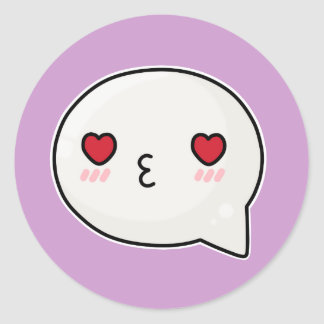 Kissy heart face 2 round sticker