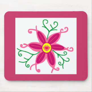 Kissy lips flower mouse pad