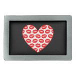 Kissy Lips Hearts Rectangular Belt Buckle