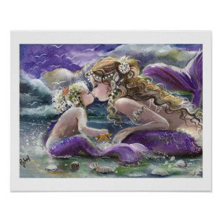 Kissy Mermaids in Purple, Mother and Child Poster