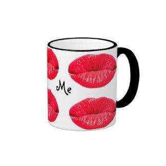 kissylips, Kiss, Me Ringer Coffee Mug